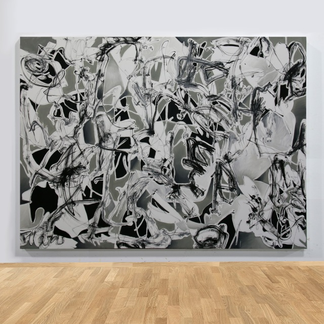 grade watering (on wall), 2019, 190x260cm, oil on canvas