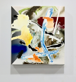 8. degrade, 2019, 50x45cm, oil, acrylic and spraypaint on canvas